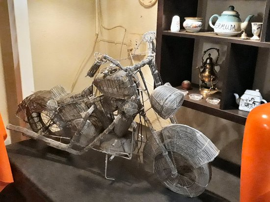 Smithfield, South Africa: Wire art model motorbike. Very intricate work.