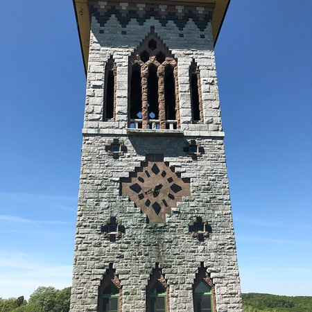 Saint Benedict Abbey: Stone clock tower from local stone but eastern design
