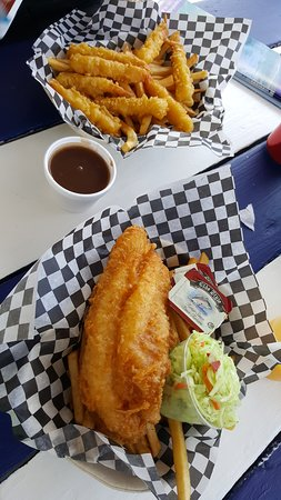Succulent and fresh crispy fish, shrimps and fries