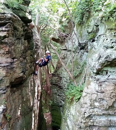 Rockbridge, OH: The beautiful and thrilling Canyon Rappel, never gets old but looks ancient!
