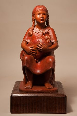 Dean Family Farm and Art Studios: Ranja's 'Girl with Rooster' bronze.
