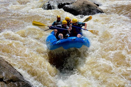 Friendsville, MD: The guys' raft with guide Leif