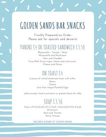 Golden Sands Hotel: Golden Sands Hotel Blackpool - Bar Menu