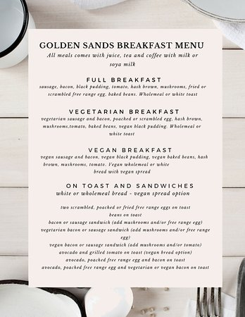 Golden Sands Hotel: Golden Sands Blackpool Breakfast Menu