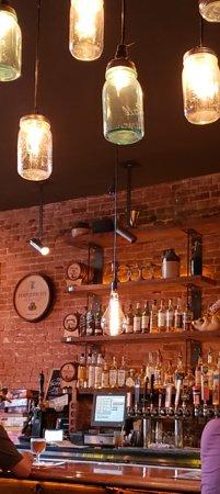 The Hopping Pig Gastropub Main Bar With Mason Jar Hanging Lights