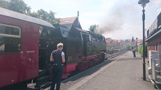 Harzer Schmalspurbahnen: ウェルニゲローデ駅発車を待つ車掌さん