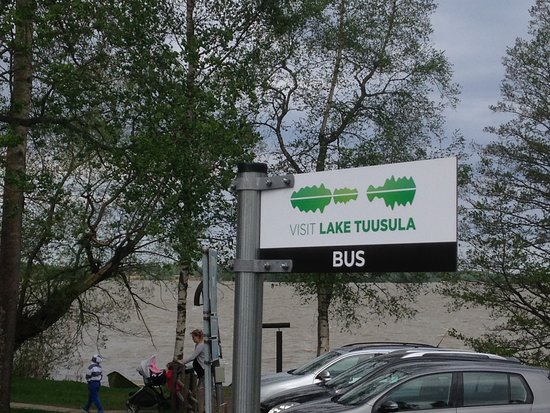 Jarvenpaa, Finland: Visit Lake Tuusula bus stop sign at Halosenniemi Art Museum and Wilderness Studio.