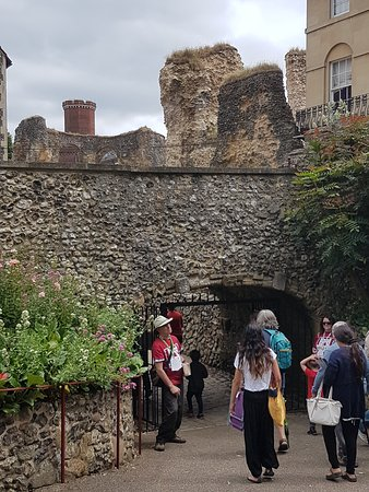 Reading Abbey Ruins: Visitors entering the newly reopened Reading Abbey through Forbury Gardens