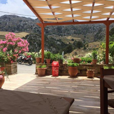 Kanevos, Greece: Grande terrasse fleurie