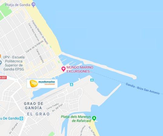 Grau de Gandia, España: ubicación del catamaran mundo marino en gandia