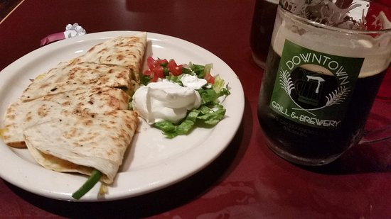 Downtown Grill & Brewery: half veggie quesadilla served along with the Downtown Porter