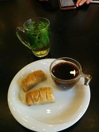 Saint George Restaurant - Arab Coffee, baklava and mint tea