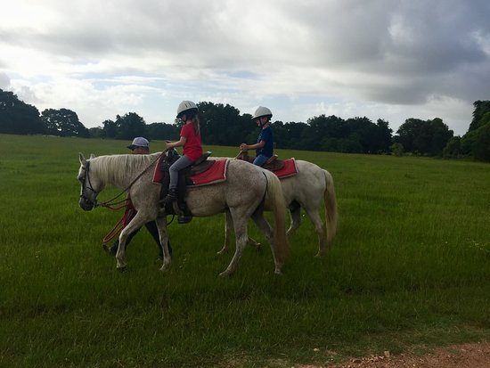 Cat Spring, TX: Kids on horseback ride
