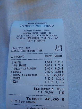 Chinchilla de Monte-Aragon, Espanha: Ejemplo de ticket. Es correcto.