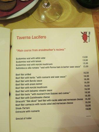 Taverna Lucifero : Menu - secondi piatti.