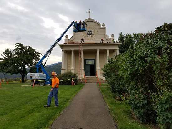 The re-roofing of the Cataldo Mission Church September 2018.
