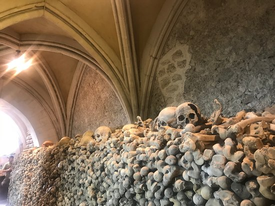 Hythe, UK: Thigh bones and skulls piled high