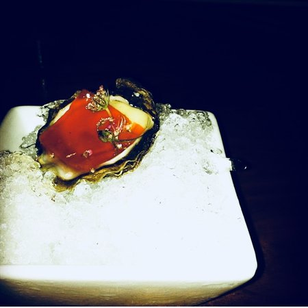 Uchi: Oyster w/ watermelon ice jell
