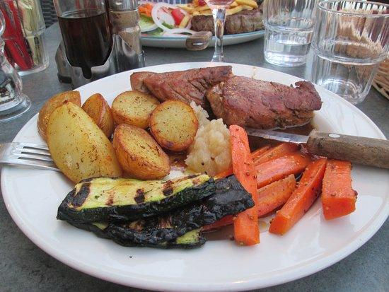 Raffael: Pork medallions, roasted aubergines, carrots, roast potatoes and apple puree