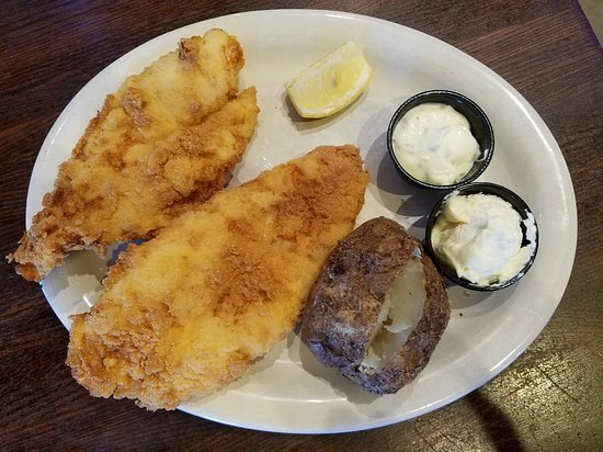 Half Moon Restaurant & Brewery: Catfish Dinner with Baked Potato (one of two sides)