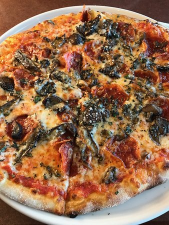 Cafe Bistro: pepperoni and mushroom pizza