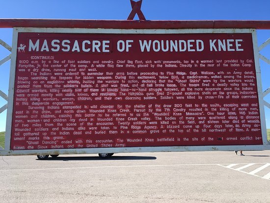 Wounded Knee Massacre Monument: Victors point of view of events at wounded knee. Disgusting!