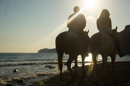 Santorini:Traditional wine village Horse riding tour: Our guide did well with photos