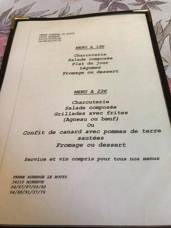 Minerve, Francja: les petits menus ...