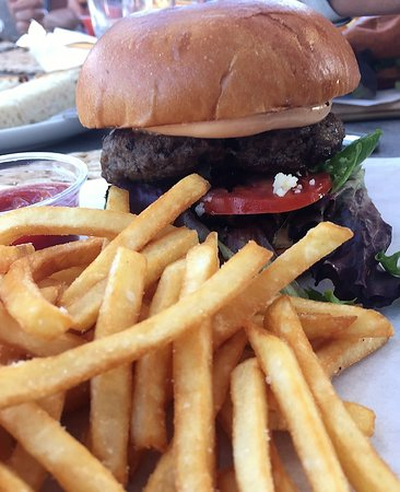 Grass fed beef burger with shoestring fries