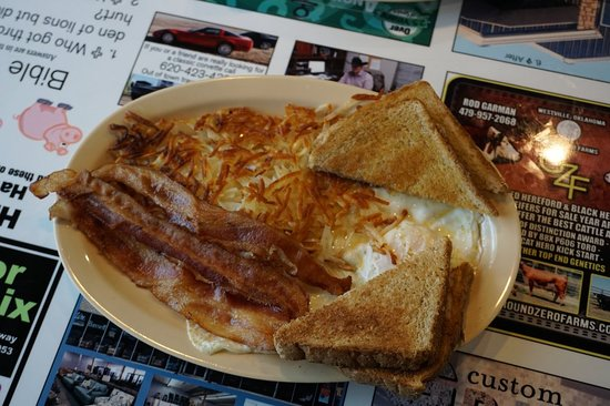 Sallisaw, OK: Over easy eggs with has browns and bacon