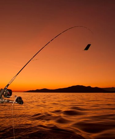 Preveza, Greece: Fishing in the beautiful Greek sunset .