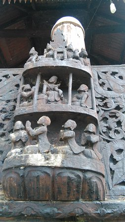 Magway, Myanmar: Wood-carving at Wooden Monastery