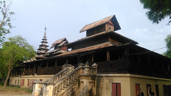 Magway, Myanmar: Old Wooden Monastery at Saku