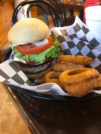 Dover Foxcroft, Maine: Double Burger with Canadian Bacon and regular Bacon!!
