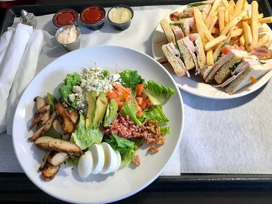 Claymont, Ντέλαγουερ: Room service. Beautiful Cobb Salad and Turkey Club Sandwich, french fries arrived hot