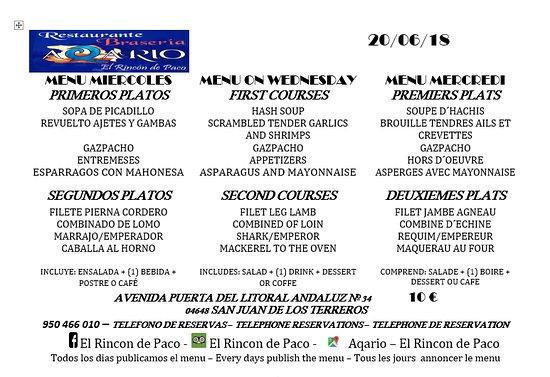 San Juan de los Terreros, Hiszpania: MENU DIARIO - MIERCOLES 20/06