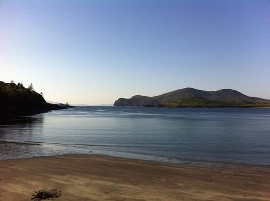 Knightstown, Ireland: view of Valentia Lighthouse from Glanleam beach. 20 mins walk from campsite