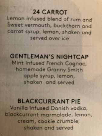 An excerpt from the drink menu