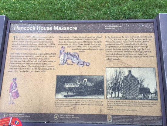 Hancocks Bridge, NJ: Descriptive plaque