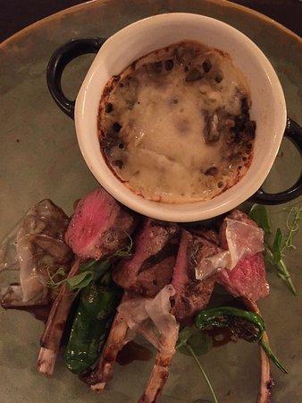 Romantik Hotel Chalet am Kiental: lamb chops and moussaka