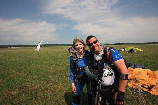 Start Skydiving : Safely back on terra firma with jump master, Brian.