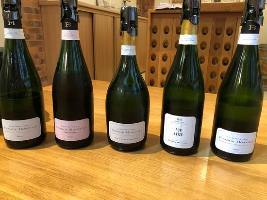 Avize, France : Tasting line up after the tour