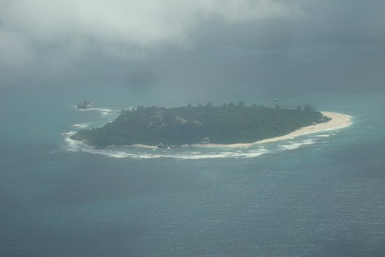 Air Seychelles: One of the islands from the window on a misty day