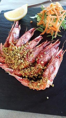 Agriturismo Tenuta Sant'emiliano: Gamberi rossi di Gallipoli gratinati con pistacchio