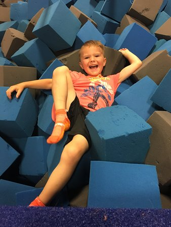 Sky Zone Trampoline Park: It was alittle hard for me to crawl out of the foam pit!!!
