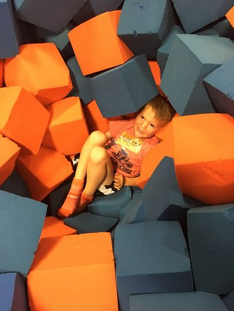 Sky Zone Trampoline Park: He also liked to bury himself in the pit. This was a not-too-busy-time!