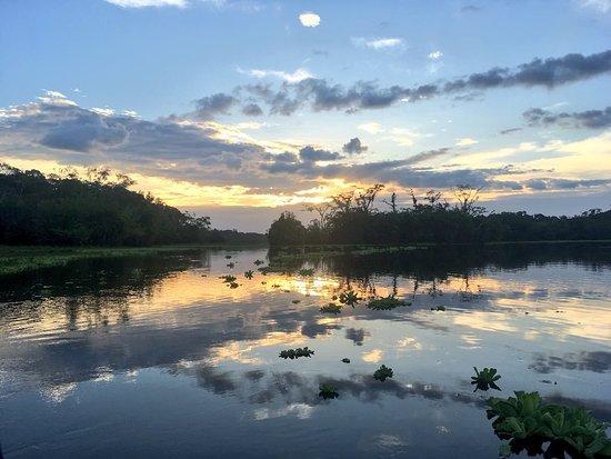 Orellana Province, Ecuador: Sunset on Yuturi Lake during an evening paddle from Eden Amazon Lodge.