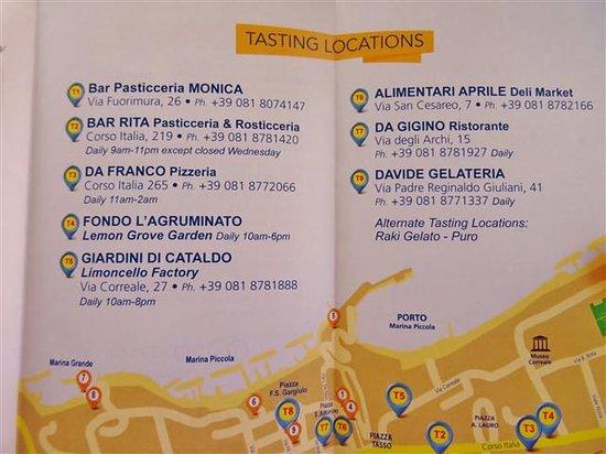 Pasticceria Monica: A list of tasting locations.