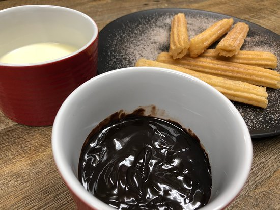 The Pizza Place: Churros and Chocolate fudge dipping sauce... so good