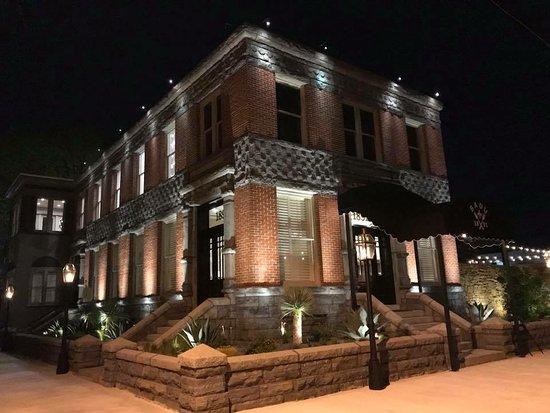 Llano, TX: Beautifully lit at night, showcasing the historic Renaissance design originally built in 1891.